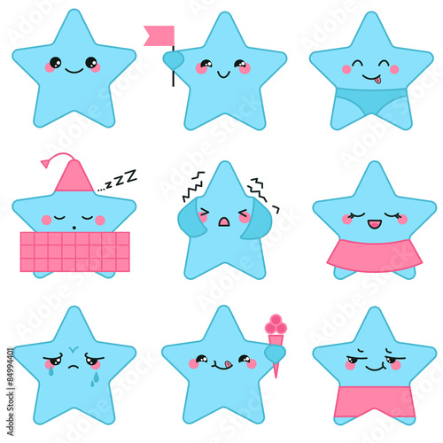 Photo  Vector kawaii stars set with emotional faces, boys and girls