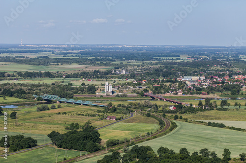aerial view of the bridge on Odra river near Scinawa town