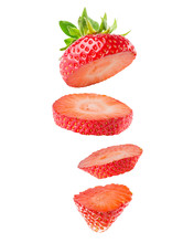 Strawberry Slices Isolated On The White Background