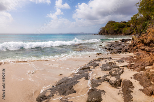 Rocky Shore  on Tropical Island Mustique