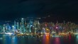 Hong Kong at night time lapse. Panoramic island view with city lights reflection