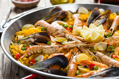 Photo  Seafood Spanish Paella