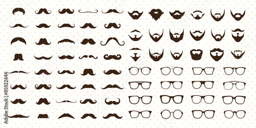 Fotografie, Obraz  Mustaches, Beard and Sunglasses style set