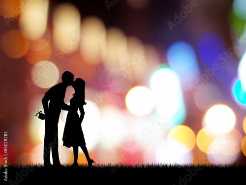 Fotografia  Couple kissing in the neon background