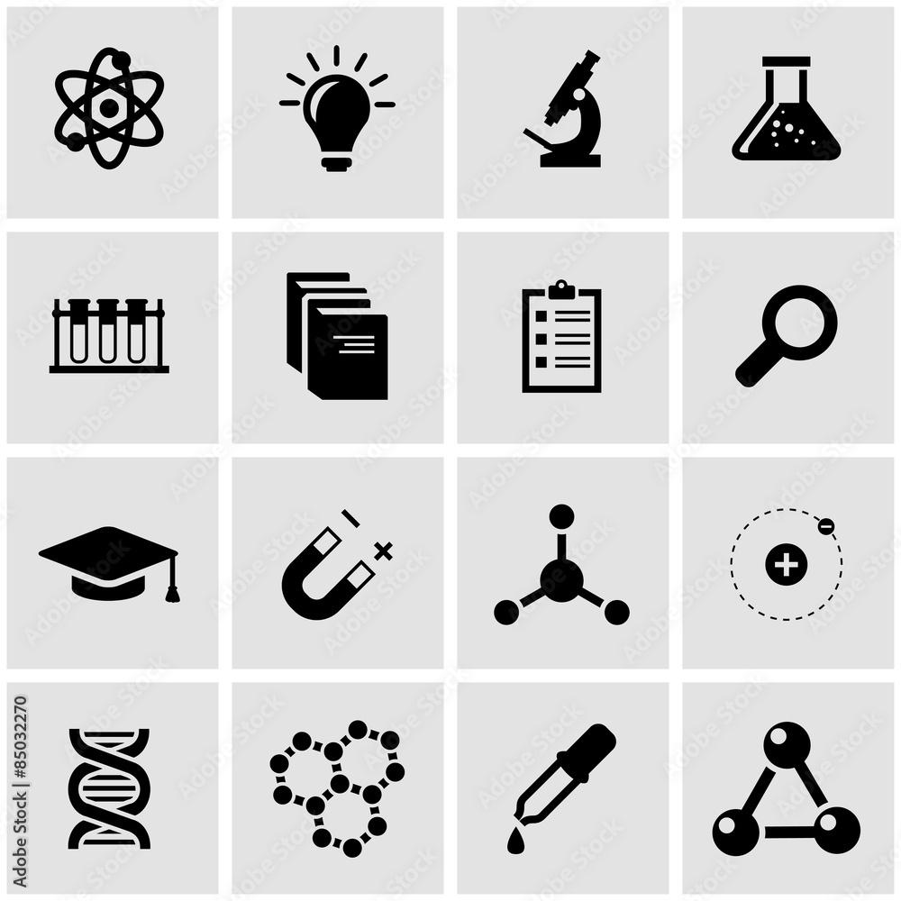 Fototapeta Vector black science icon set