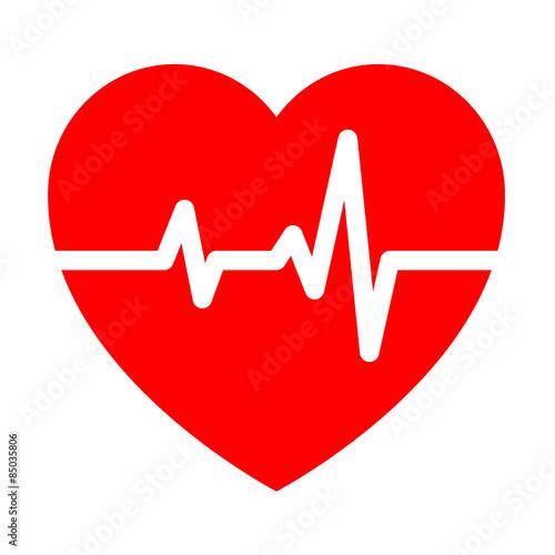 Fotografie, Obraz  Icono aislado ritmo cardiaco rojo