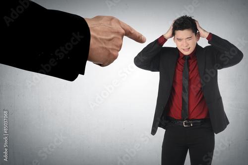 Concept of accused businessman Canvas Print