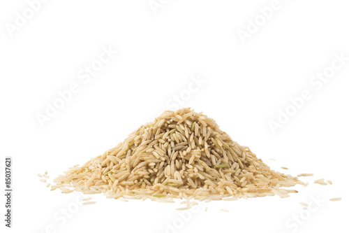 Pile of brown basmati rice isolated on white Canvas Print