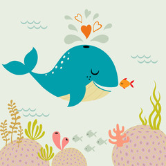 Plakat Cute romance whale and little goldfish in love