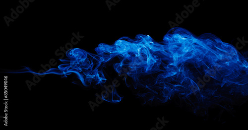 Fotobehang Rook Blue Smoke On Black