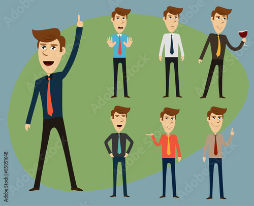 Vector of Businessman pose action set