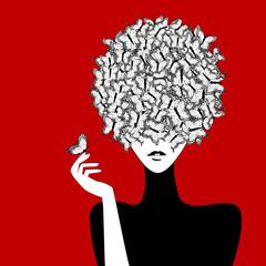 Fototapeta Do pokoju dziewczyny Stylized woman wiith butterflies hairstyle