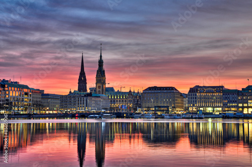 City on the water Alster Hamburg