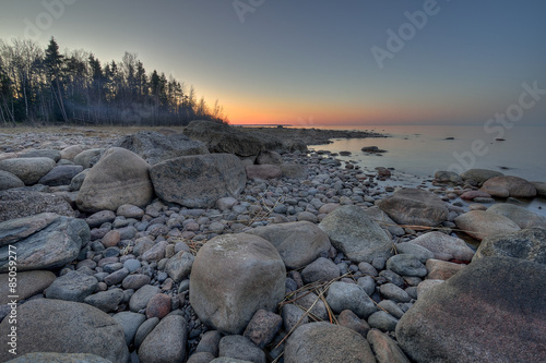 Fotografia, Obraz  Sunset on Ladoga lake