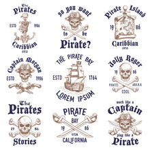 Set Of Vintage Hand Drawn Pirates Designed Emblems, Labels