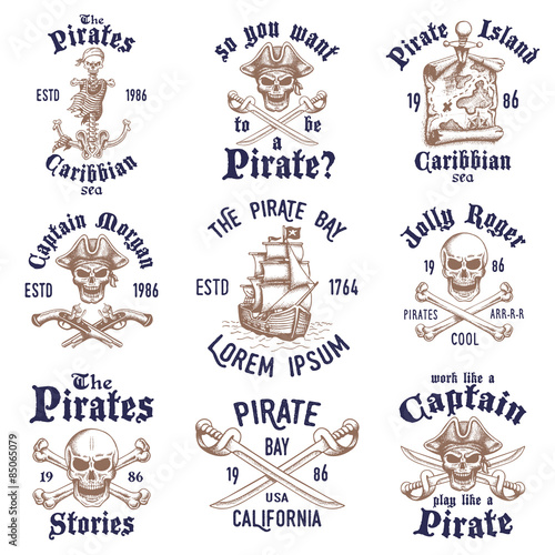 Fotografie, Obraz  Set of vintage hand drawn pirates designed emblems, labels