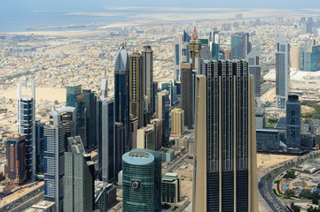 Naklejka Aerial view of World Trade center in Dubai
