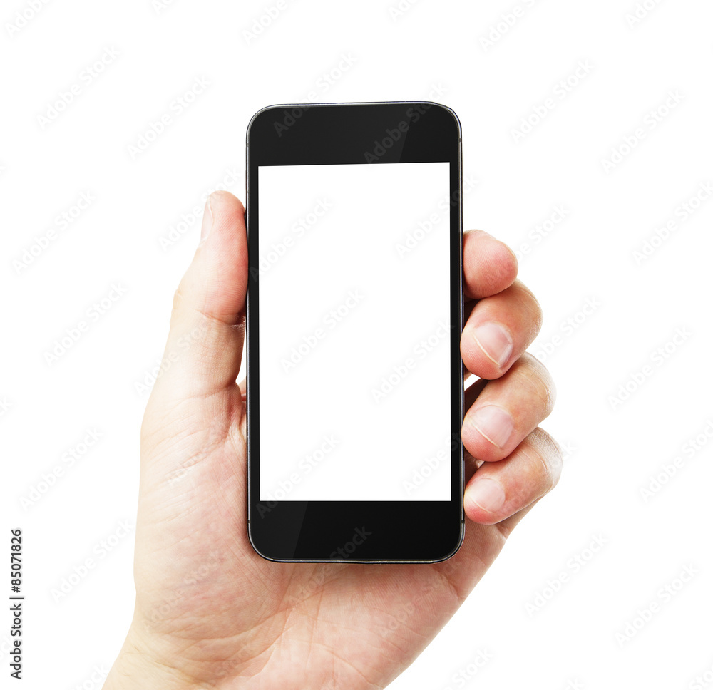 Fototapeta hand with empty cell phone