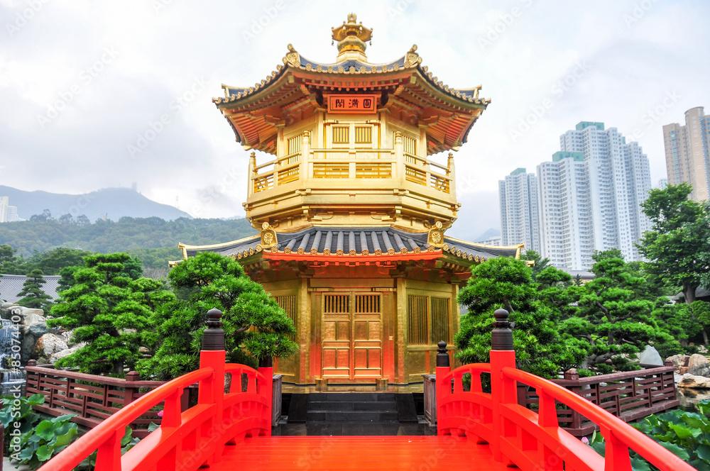 Photo & Art Print Golden Pavilion of Nan Lian Garden, Hong Kong ...