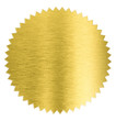 Leinwandbild Motiv gold metal foil sticker seal isolated with clipping path