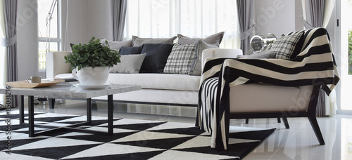 Fotografija  modern living room interior with black and white checked pattern