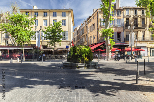 Mossy fountain on the Cours Mirabeau in Aix en Provence Canvas Print