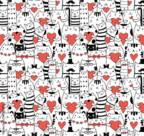 Aufkleber - Сats with hearts seamless pattern