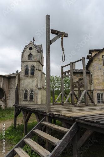 Medieval scaffold gallows in the square of the medieval town Fototapeta