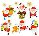 collection of funny cartoon Santa Clauses in different poses