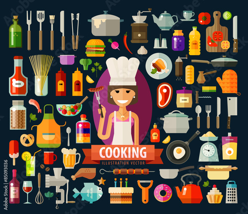 cooking vector logo design template. food preparation or chef