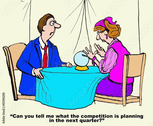 Cartoon of businessman with gypsy who tells the future  He asks her