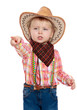 little girl in a cowboy hat shows finger forward