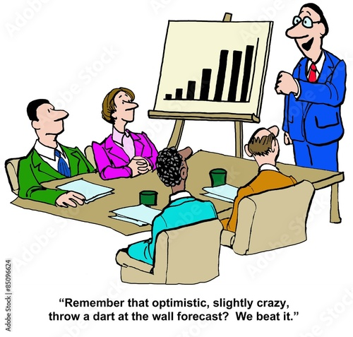 Cartoon of business meeting and chart showing growth Poster