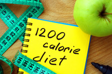 Notepad With 1200 Calorie Diet, Apple And Measure Tape