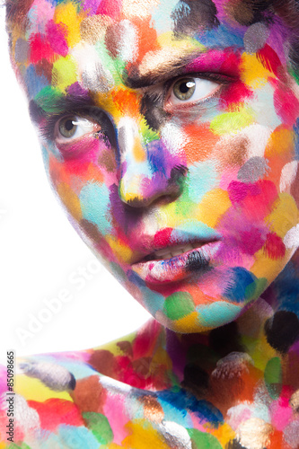 Fototapety, obrazy: Girl with colored face painted. Art beauty image.