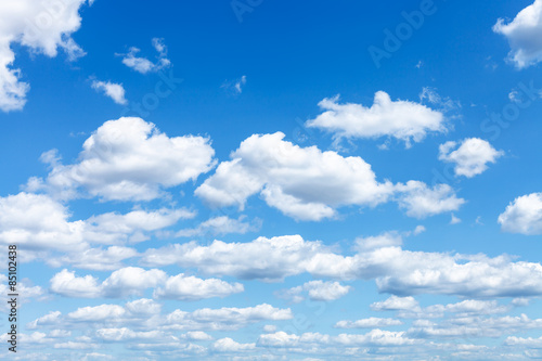 Foto op Canvas Hemel many white clouds in summer blue sky