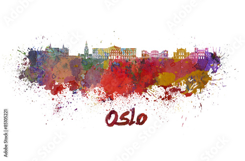 Oslo skyline in watercolor Poster