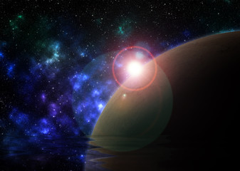 design of a planet and stars in the sky