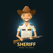 Sheriff Vector Logo Design Template. Police, LAPD Or Law