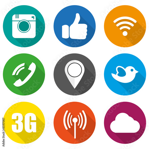 Fotografie, Obraz  Icons for social networking vector illustration in flat