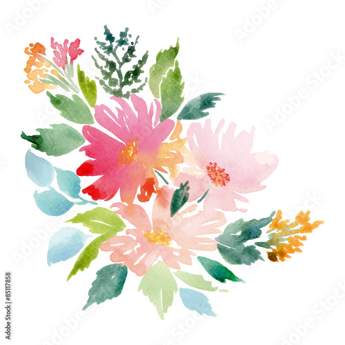 Watercolor greeting card flowers.