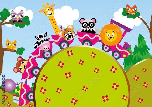 zwierzątka,zwierzęta,zoo,lokomotywa,pociąg, zabawa,wakacje,lato,podróże