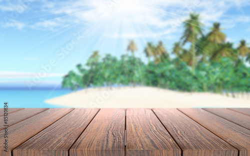 Recess Fitting Dark grey 3D wooden table looking out to a tropical island in sea