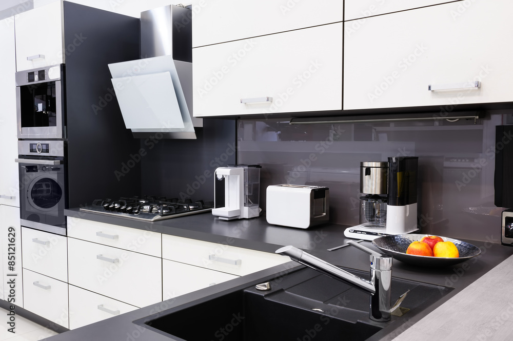 Moderne Luxus-Gewohnheit hallo-tek schwarz-weiße Küche ...