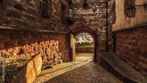 Poster Ruine Giechburg Castle Ruin in Franconia, Germany on a warm summer evening