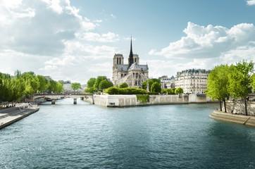 Seine and Notre Dame de Paris, Paris, France