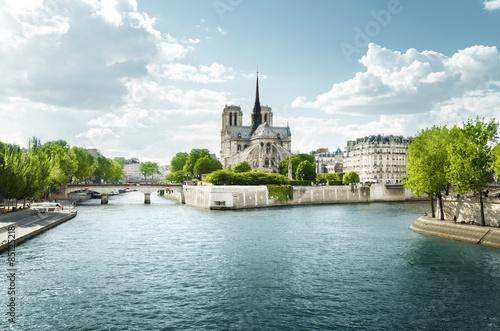 Carta da parati Seine and Notre Dame de Paris, Paris, France