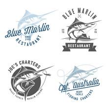 Set Of Marlin Fishing Emblems,...