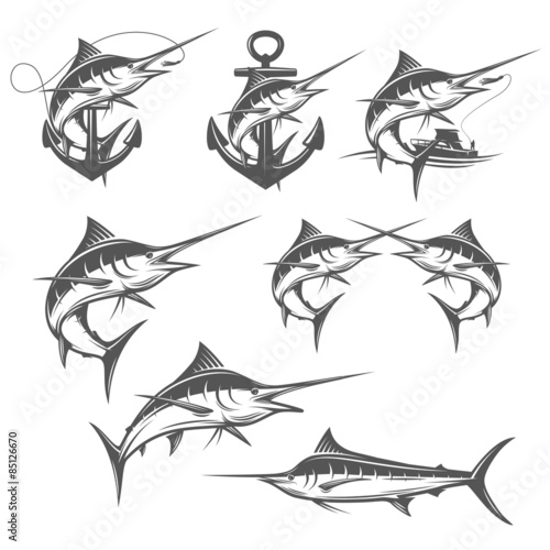 Set of marlin fishing emblems, badges and design elements Wallpaper Mural