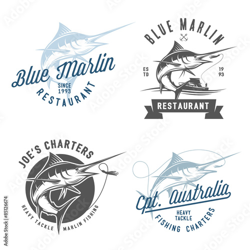 Photo  Set of marlin fishing emblems, badges and design elements